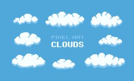 Pixel Art Clouds. Set of clouds with different size and shape Royalty Free Stock Photo