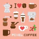 Pixel art coffee isolated vector set Stock Photography