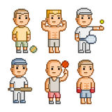 Pixel art collection athletes Stock Image