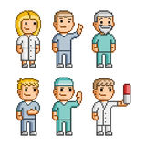 Pixel art collection doctors. Pixel art collection of different characters doctors royalty free illustration