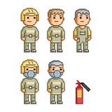 Pixel art collection firefighters Stock Photography