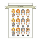 Pixel art collection funny people. Pixel art collection happy people Funny people Vector Stock Photography