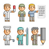 Pixel art collection professions Stock Images