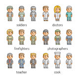 Pixel art collection professions. Pixel art collection people of different professions Royalty Free Stock Photo