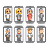 Pixel art collection smart phones. And people Royalty Free Stock Image