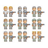 Pixel art collection of soldiers Stock Photo
