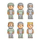 Pixel art collection soldiers Royalty Free Stock Images
