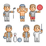 Pixel art collection of various sports Royalty Free Stock Photography
