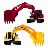 Pixel art colored excavators Royalty Free Stock Images
