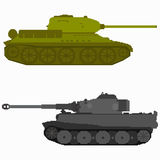 Pixel art colored tanks Stock Photography