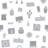 Pixel art computer objects seamless vector pattern Stock Photos
