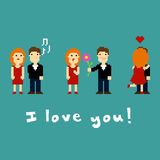 Pixel art couple. On the date, illustration Stock Illustration