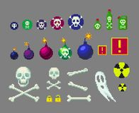 Pixel art danger icons set. Pixel art danger icons set for game design. Bombs and skulls of different sizes and other royalty free illustration