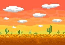 Pixel art desert seamless background. Pixel art background. Cactus, clouds in the desert. Seamless vector illustration royalty free illustration