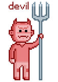 Pixel art devil 8 bit Royalty Free Stock Image