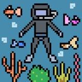 Pixel art dive underwater Stock Image