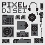 Pixel art dj vector set stock illustration