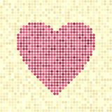 Pixel art dot heart. Rose heart made of circles on beige backdrop Stock Images