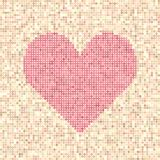 Pixel art dot heart. Rose heart made of dots on beige and peach background Stock Photos