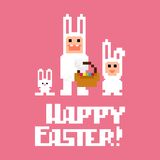 Pixel art easter. Three pixel art easter rabbits, illustration Stock Illustration