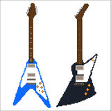 Pixel art electric guitar Stock Photos