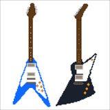 Pixel art electric guitar Stock Photos