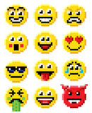 Pixel Art Emoji Emoticon Set Lizenzfreie Stockfotos