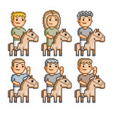 Pixel art equestrians Royalty Free Stock Photo