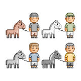 Pixel art equestrians Royalty Free Stock Photos