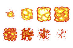 Pixel art explosion animation frames. Pixel boom explosion, flame burst animation pixel art, video animation fire, vector illustration Stock Photos