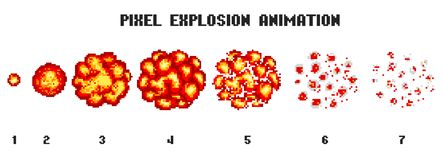 Pixel art explosions. game icons set. Comic boom flame effects for emotion. 8-Bit Vector. Bang burst explode flash. Nuclear bubble dynamite with smoke royalty free illustration