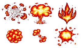 Pixel art explosions. game icons set. Comic boom flame effects for emotion. 8-Bit Vector. Bang burst explode flash. Nuclear bubble dynamite with smoke vector illustration