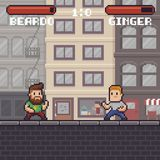 Pixel Art Fighting. Game scene with two ready to fight characters in battle stances Stock Photography