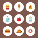 Pixel art food computer design icons vector illustration restaurant pixelated element fast food retro game web graphic. Stock Images