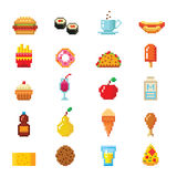 Pixel art food computer design icons vector. Set of pixel icons fruit sweet sign. Vector illustration restaurant pixelated element. Fast food computer design vector illustration