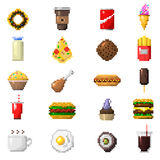 Pixel art food icons vector. Royalty Free Stock Photos