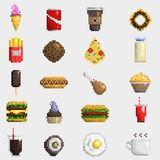 Pixel art food icons vector. Stock Photography