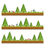 Pixel art forest green background for games and Stock Images