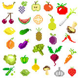 Pixel art fruit and vegetables on white Royalty Free Stock Images