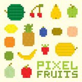 Pixel art fruits  vector set Royalty Free Stock Image