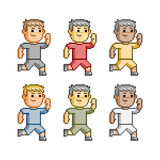 Pixel art funny runners Stock Image