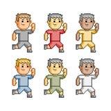 Pixel art funny runners Stock Image
