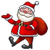 Pixel Santa isolated vector. Pixel art funny Santa detailed isolated vector vector illustration