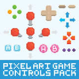 Pixel art game controls and buttons vector set Royalty Free Stock Image