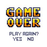 Game over Pixel art design isolated on white background. Pixel art for game design. Banner with lives and phrase `play again?`. Retro game design concept Stock Image