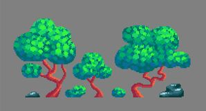 Pixel art game design elements. Set of trees, bushes and stones. Vector illustration Royalty Free Stock Photo