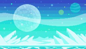 Pixel art game location. Cosmic area, someone frozen planet surface. Seamless vector background Royalty Free Illustration