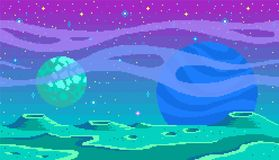 Pixel art game location. Cosmic area,someone planet surface. Seamless vector background Royalty Free Illustration