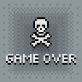 Pixel art game over sign. With skull vector illustration and grey graduated pixel texture Royalty Free Stock Photo