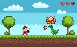 Pixel Art Game, projeto no caráter mordido 8 do estilo ilustração stock